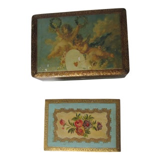 Vintage Romantic Florentine Boxes - Set of 2