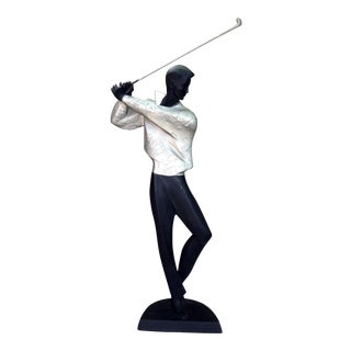 Vintage Austin Productions Modernist Art Deco Golfer Signed Sculpture.