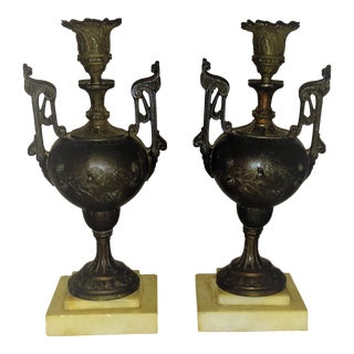 Antique French Gothic Candle Holders - A Pair