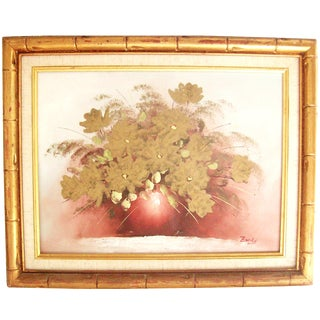Original Floral Painting with Gold Bamboo Frame