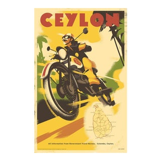 Danish Modern Travel Poster, Ceylon Motorcycle