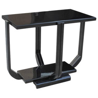 Art Deco Black Lacquer Two-Tier Side Table