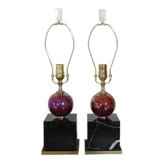 Pair of Italian Marble & Glass Lamps with brass wood trimmed details.
