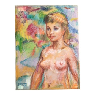1969 Alfred DiCesare Fluorescent Pastel Nude Drawing