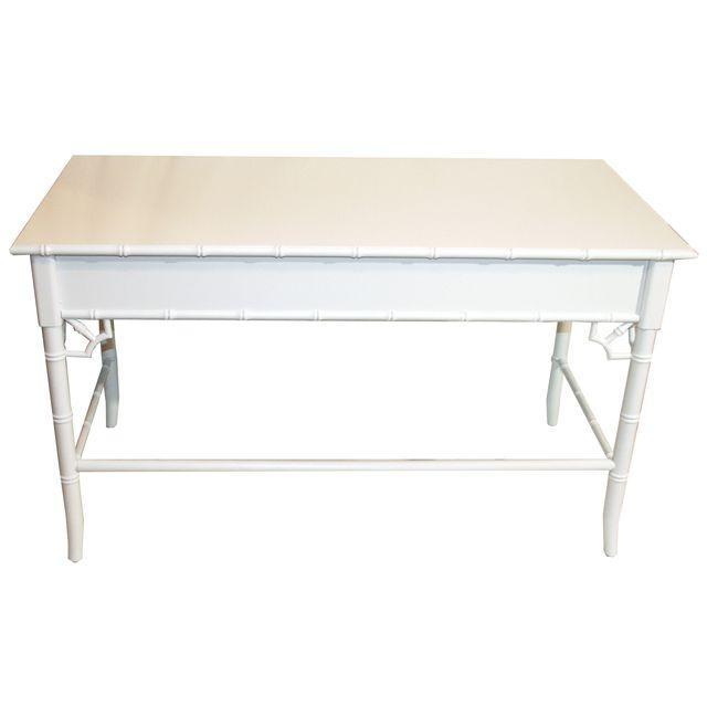 Thomasville Vintage Faux-Bamboo White Desk - Image 4 of 9