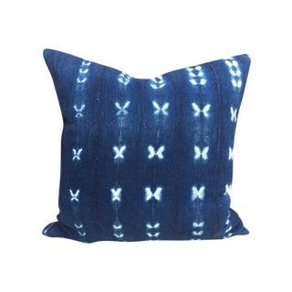 Vintage Indigo Mud Cloth Textile Pillow