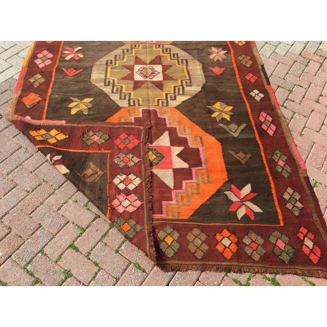 Vintage Turkish Kilim Rug - 6′4″ × 12′ - Image 10 of 10