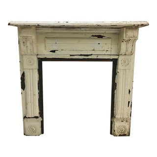 Late 1800's Distressed Wood Fireplace Mantle