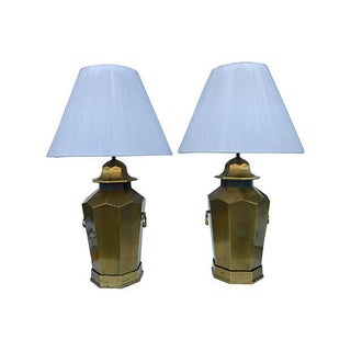 Solid Brass Lamps With Custom Shades - Pair