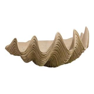 A Large Stoneware Clam Shell Bowl by Philip Thomason