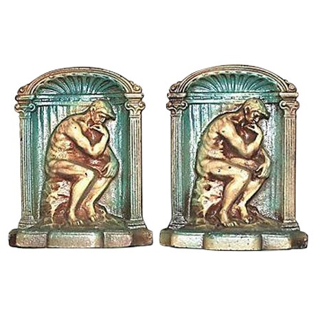 Image of The Thinker 1920s Original Paint Bookends - Pair