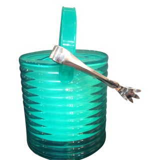 Turquoise Lucite Ice Bucket and Tong Set