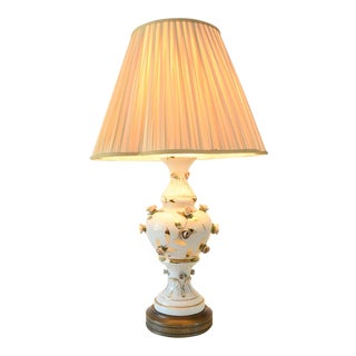 Antique Victorian Table Lamp with Rose Motif