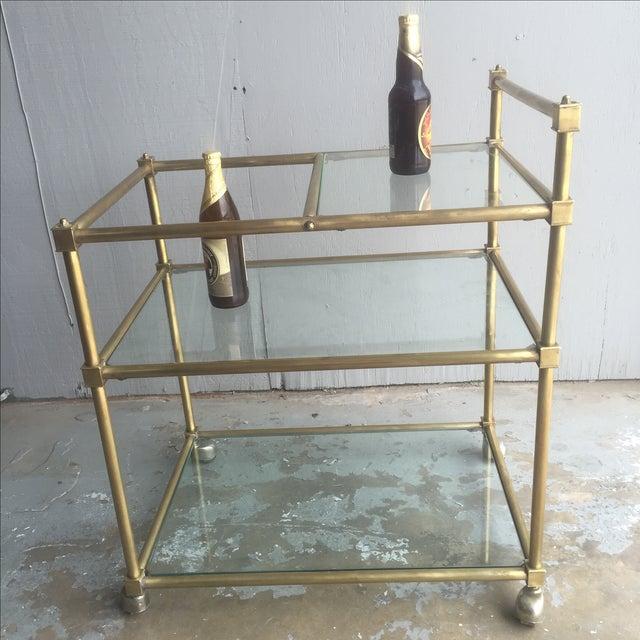 Vintage Mid Century Brass Bar Cart - Image 4 of 6