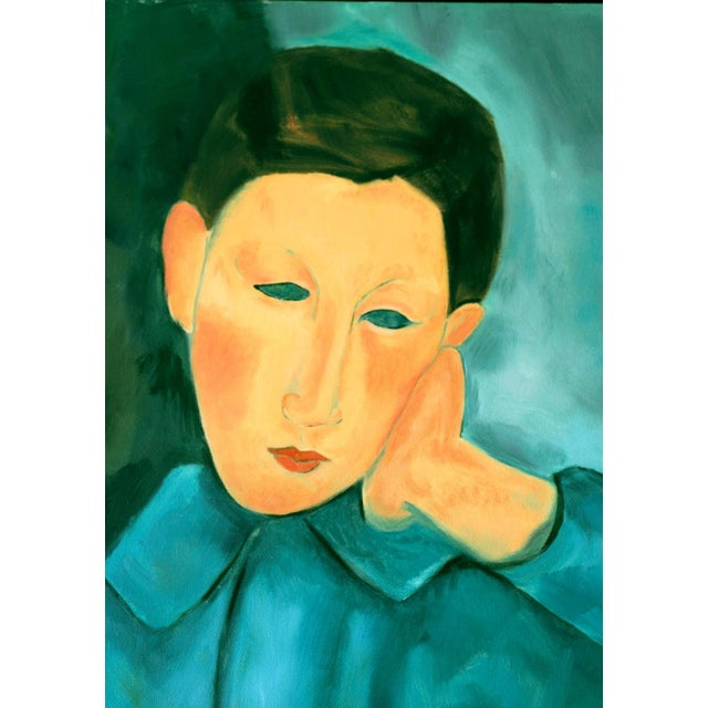 """""""Boy in Green"""" Oil Painting After Modigliani by Trixie Pitts - Image 2 of 5"""