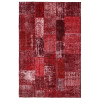 "Red Overdyed Turkish Patchwork Carpet 6' 5""x9' 10"""