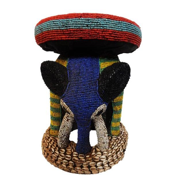 African Beaded Bamileke Elephant Stool - Image 3 of 10