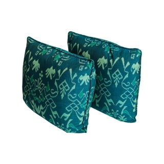 Teal Ikat Throw Pillows - A Pair
