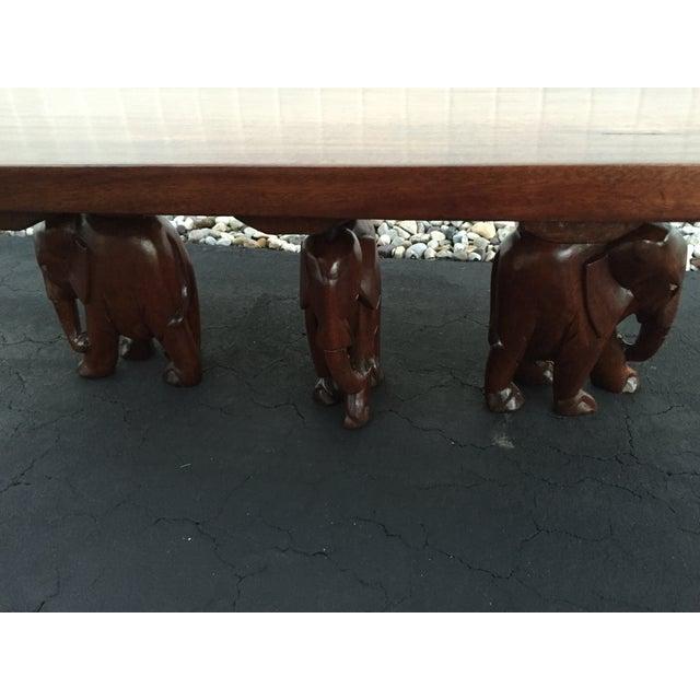 Vintage Carved Walnut Elephant Coffee Table - Image 4 of 9