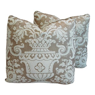 "19"" X 18"" Italian Mariano Fortuny Carnavalet Feather/Down Pillows - Pair"