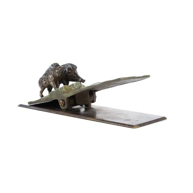 "Image of Antique Vienna Paper Clip ""Wild Boars"" Bronze"