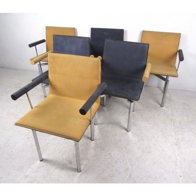 Modern Memphis Style Swivel Dining Chairs - Set of 6 - Image 2 of 11