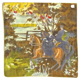 Vintage Fox Hunt Scene Linen Handkerchief