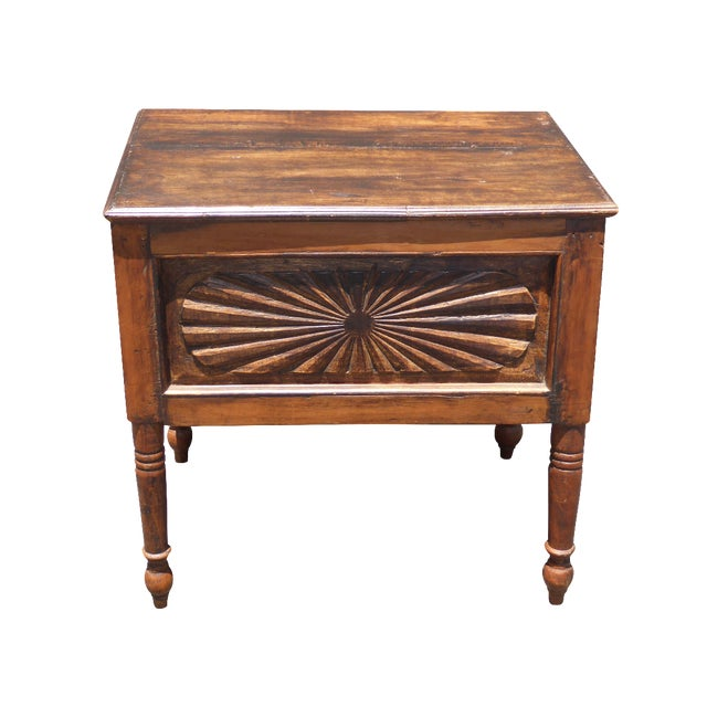 Image of Spanish Style Carved Wood Chest End Table