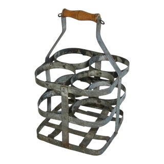 1930s French Gray Porte Bouteille Zinc 4-Bottle Wine Carrier