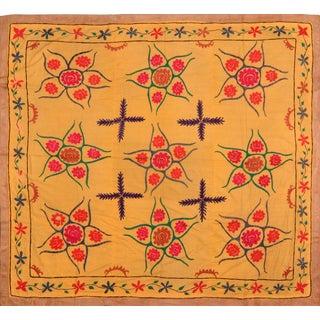 "Uzbek Silk Suzani - 7' x 7'7"""