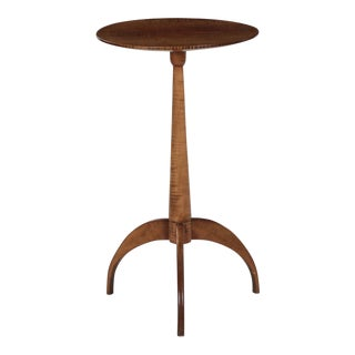 American Shaker Style Tiger Maple Side End Table by Jack McGuire Circa 1992