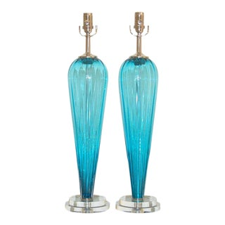 Joe Cariati Handblown Lamps in Blue