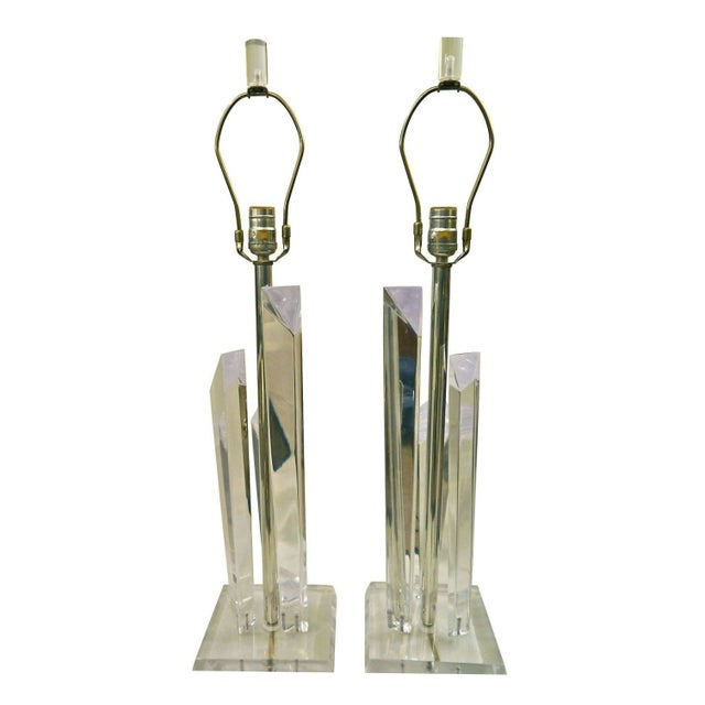 Image of Lucite Skyscraper Lamps - A Pair