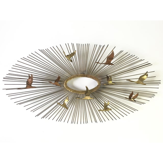 1960s birds in flight starburst wall sculpture chairish. Black Bedroom Furniture Sets. Home Design Ideas