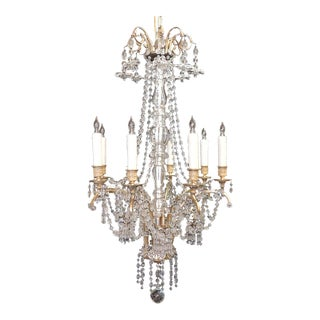 Early 20th C French Baccarat-Quality and Bronze Doré Chandelier