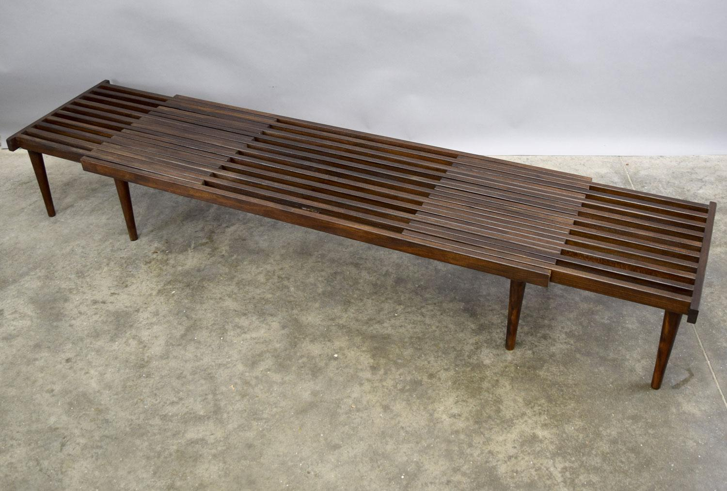 On Hold   John Keal For Brown Saltman Mid Century Expandable Slat Bench Or  Table