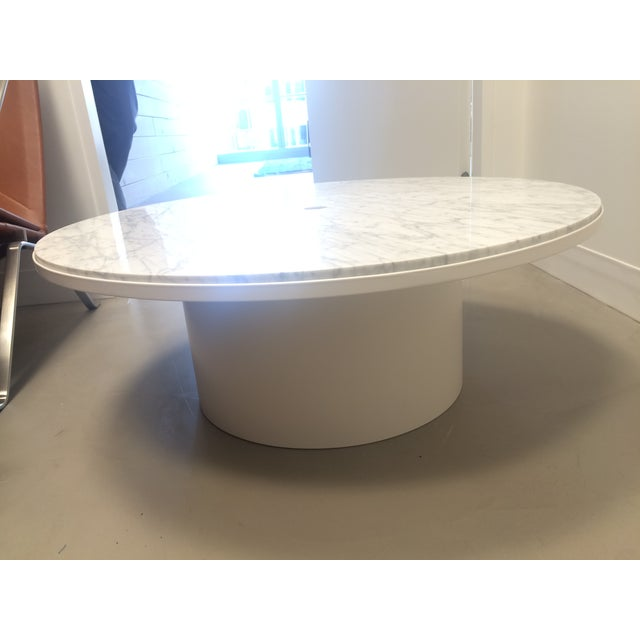 blue dot white marble top plateau coffee table chairish