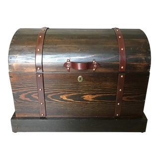 Vintage Wood Treasure Chest Style Trunk