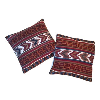 Vintage Southwestern Crewel Pillows - A Pair