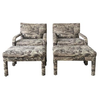 Vintage Toile Upholstered Chairs & Ottomans - A Pair