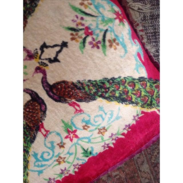 Antique Silk Velvet Persian Peacock Pillows - Pair - Image 7 of 11