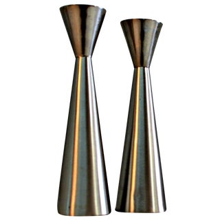 Danish Modern Stainless  Candleholders - A Pair
