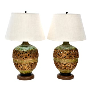 Green & Gold Glazed Italian Table Lamps - A Pair