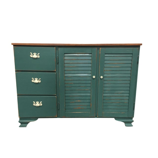 Image of Distressed Forest Green Cabinet