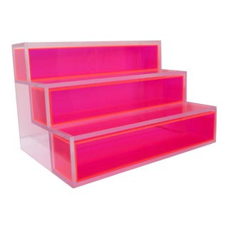 Pink Block Lucite Display Shelving