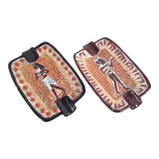 Vintage Italian Egyptian Theme Ash Trays - A Pair
