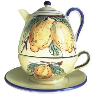 Italian Lemon Motif Teapot Tower
