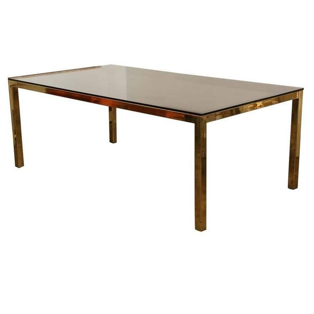 Image of Mid Century Modern Vintage Brass & Glass Dining Table by Milo Baughman / DIA