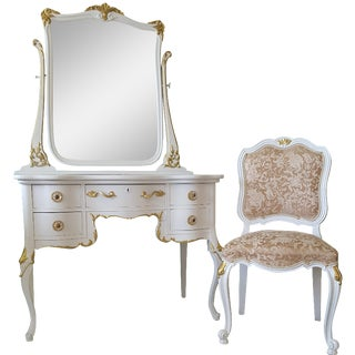 Antique White and Gold Vanity Mirror & Chair