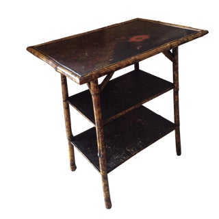 Antique Chinoiserie Scorched Bamboo Side Table